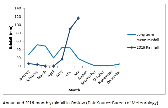 Annual and 2016 monthly rainfall in Onslow